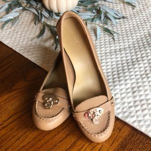 Tommy Hilfiger Leather Loafer Wedge- Nude
